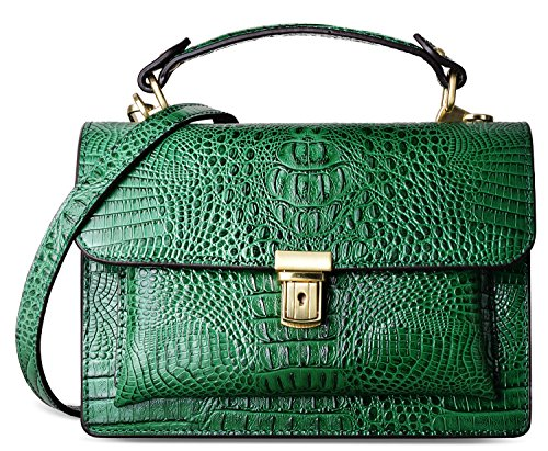 PIFUREN Fashion Women Leather Crossbody Purses Top Handle Handbag C68728(Green)