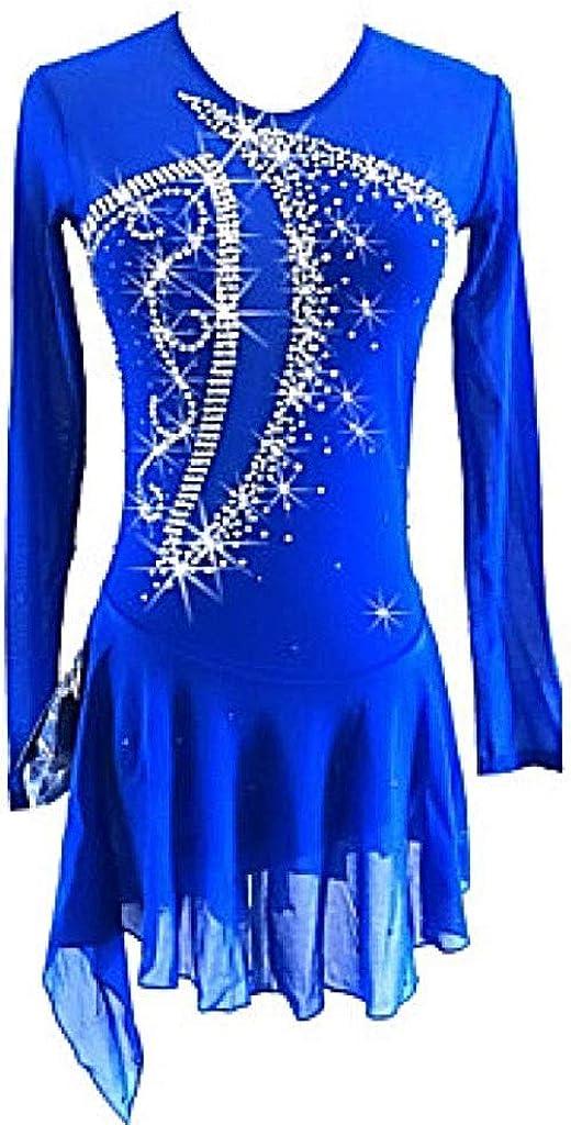 フィギュアスケートドレス、女の子用アイススケートドレスロイヤルブルー非対称裾スパンデックス伸縮性のある専門家競技スケートウェアスパンコールロングスリーブ ブルー L
