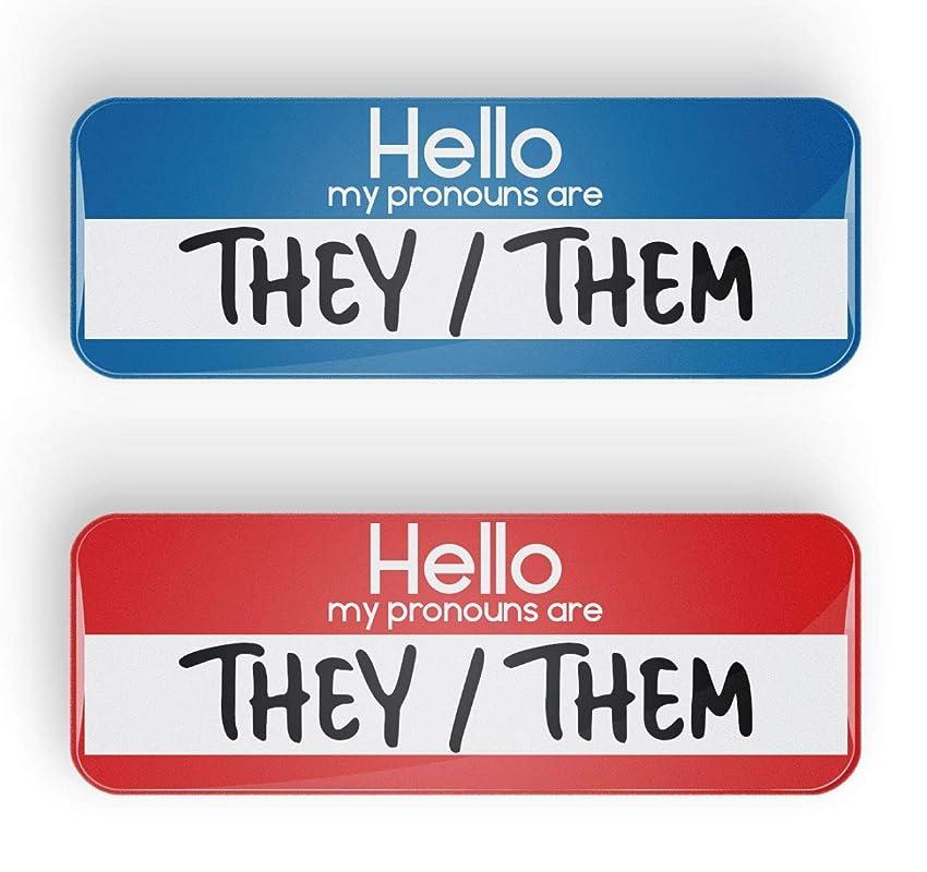 1 LGBTQ+ LGBT pinback or fridge magnet Pronoun THEY//HE pin badge button