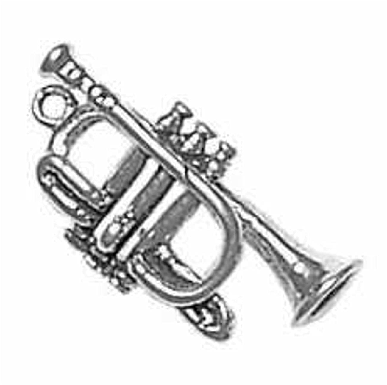 Sterling Silver Girls .8mm Box Chain 3D Instrument French Trumpet Pendant Necklace
