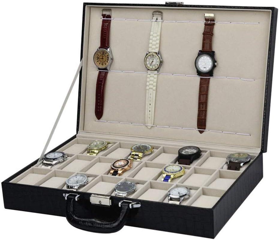 24 + 12 portátil Caja de Reloj cocodrilo del patrón de la PU de Reloj del Cuero Mostrar Caja de Almacenamiento - Es Ideal para Uso Personal Artículos de Pantalla: Amazon.es: Hogar
