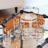 Luxe Gold Rim Bar Caddy Glasses Ice Bucket | Set 10 Entertaining Retro Serving