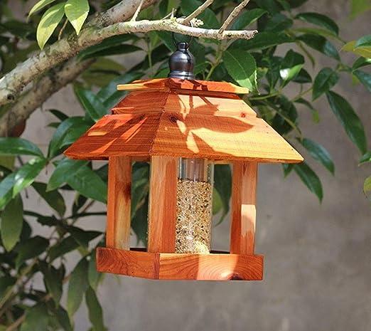 Ailihan Pájaro Silvestre, comedero para pájaros, casita para pájaros, Exterior, jardín, jardín, Villa, balcón, decoración, Cedro Rojo (Aproximadamente 20.5 * 20.5 * 28 cm): Amazon.es: Jardín