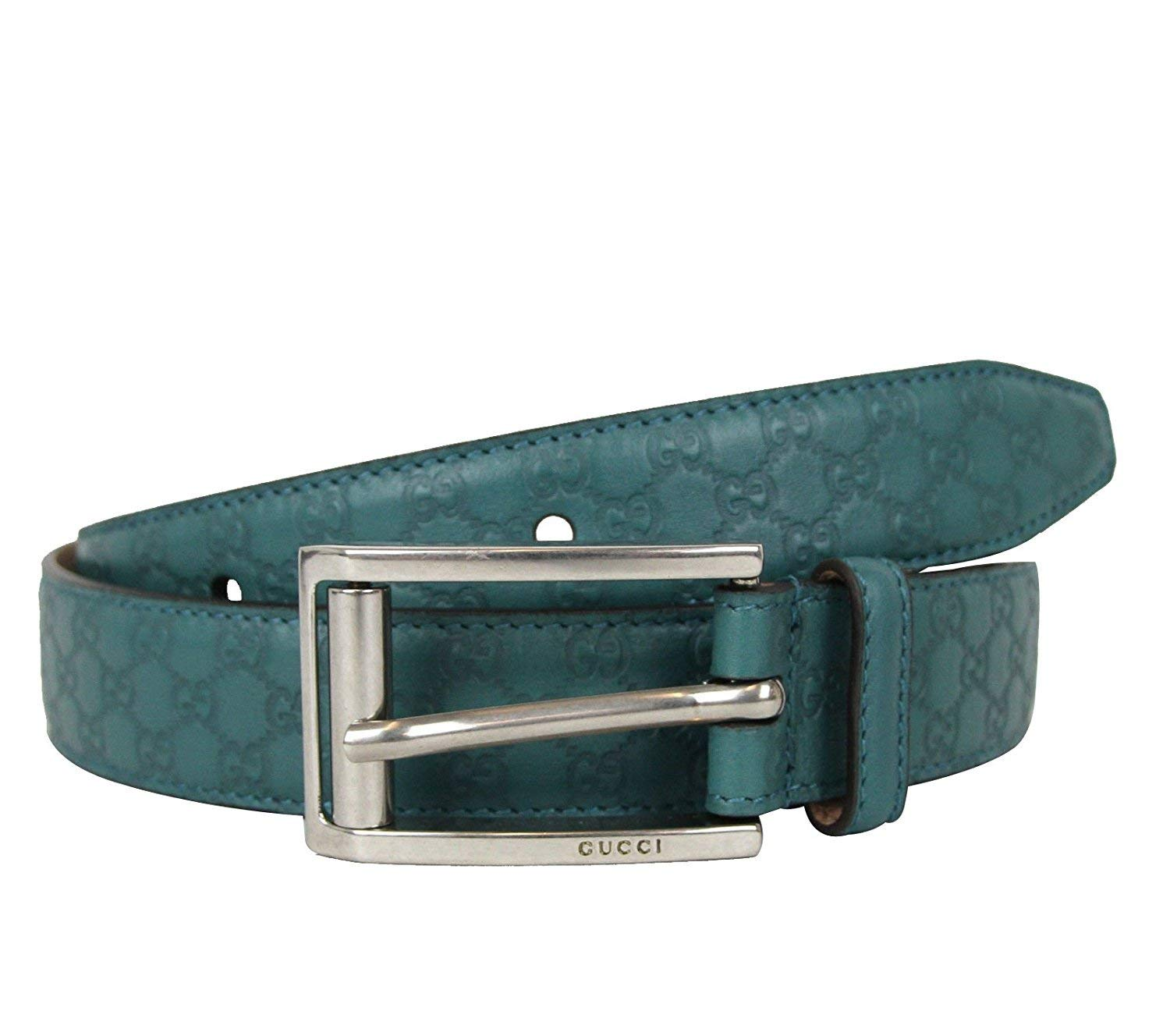 2ab78967228 Gucci Mens Teal Leather Guccissima Belt Metal Buckle 281798 4715 90   36