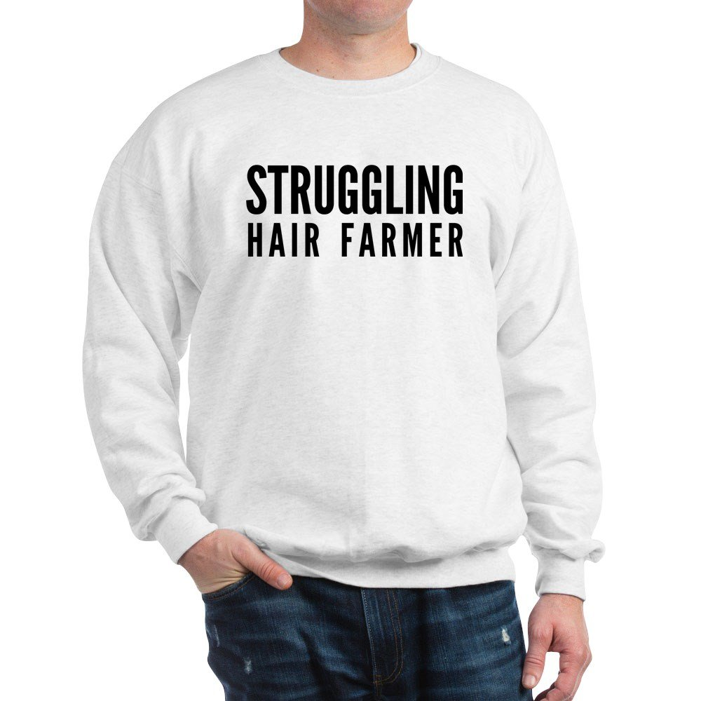 Struggling Hair Farmer Classic Crew Neck Sweatshirt CafePress