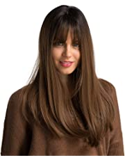 """22""""Long synthetic wig with Dark Root ombre Colour High Density Natural headline Heat Permanent hair wigs for women"""