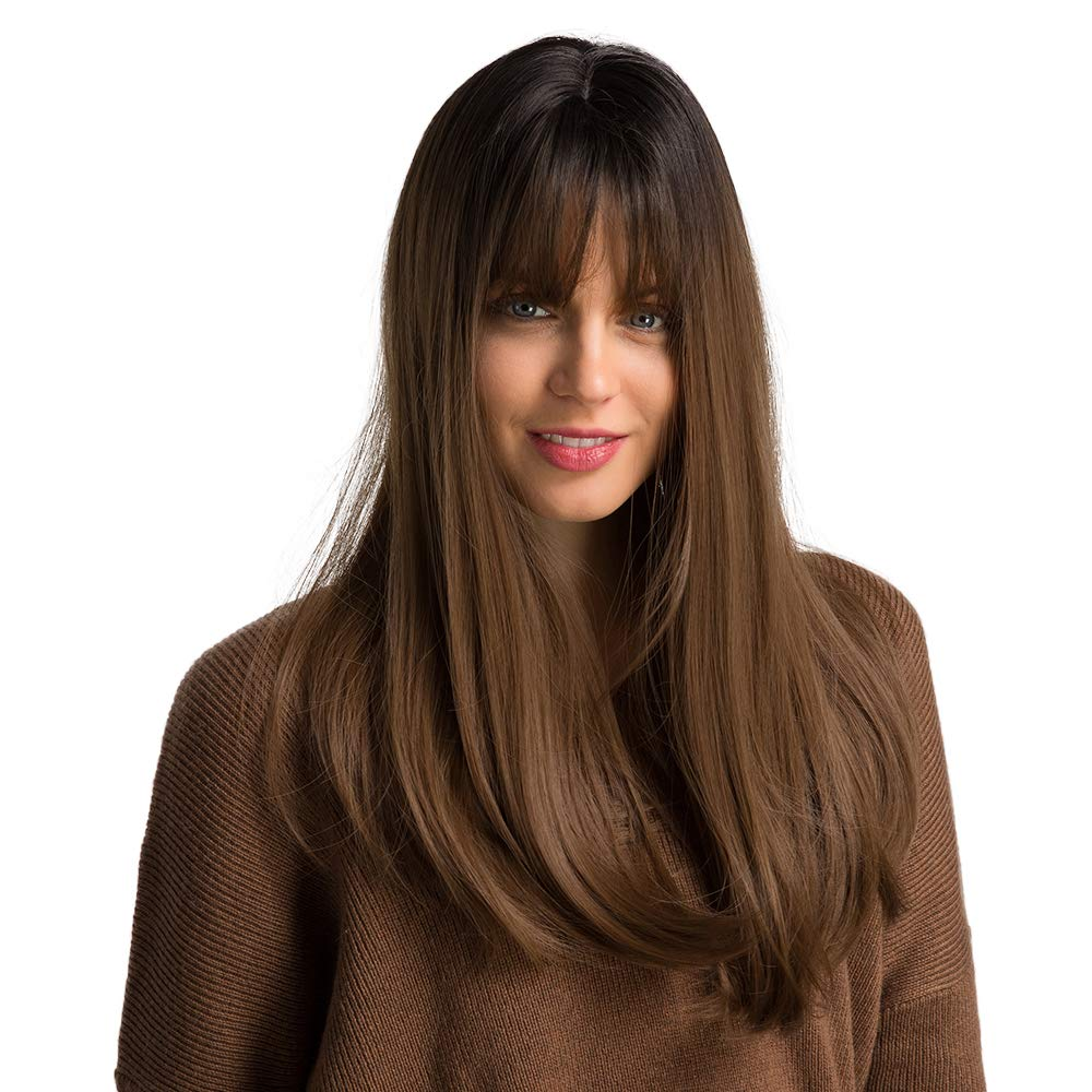 22''Long synthetic wig with Dark Root ombre Colour High Density Natural headline Heat Permanent hair wigs for women by Elemen
