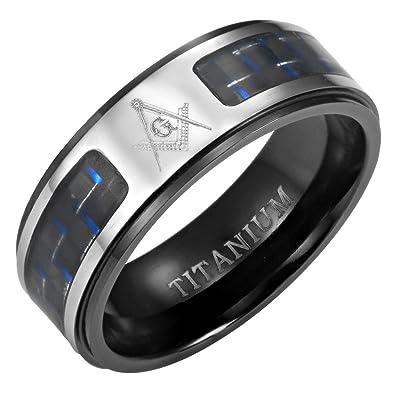 MasonicMan Men's Titanium Masonic Ring (Black, Blue Carbon Fiber Insets,  Latin)
