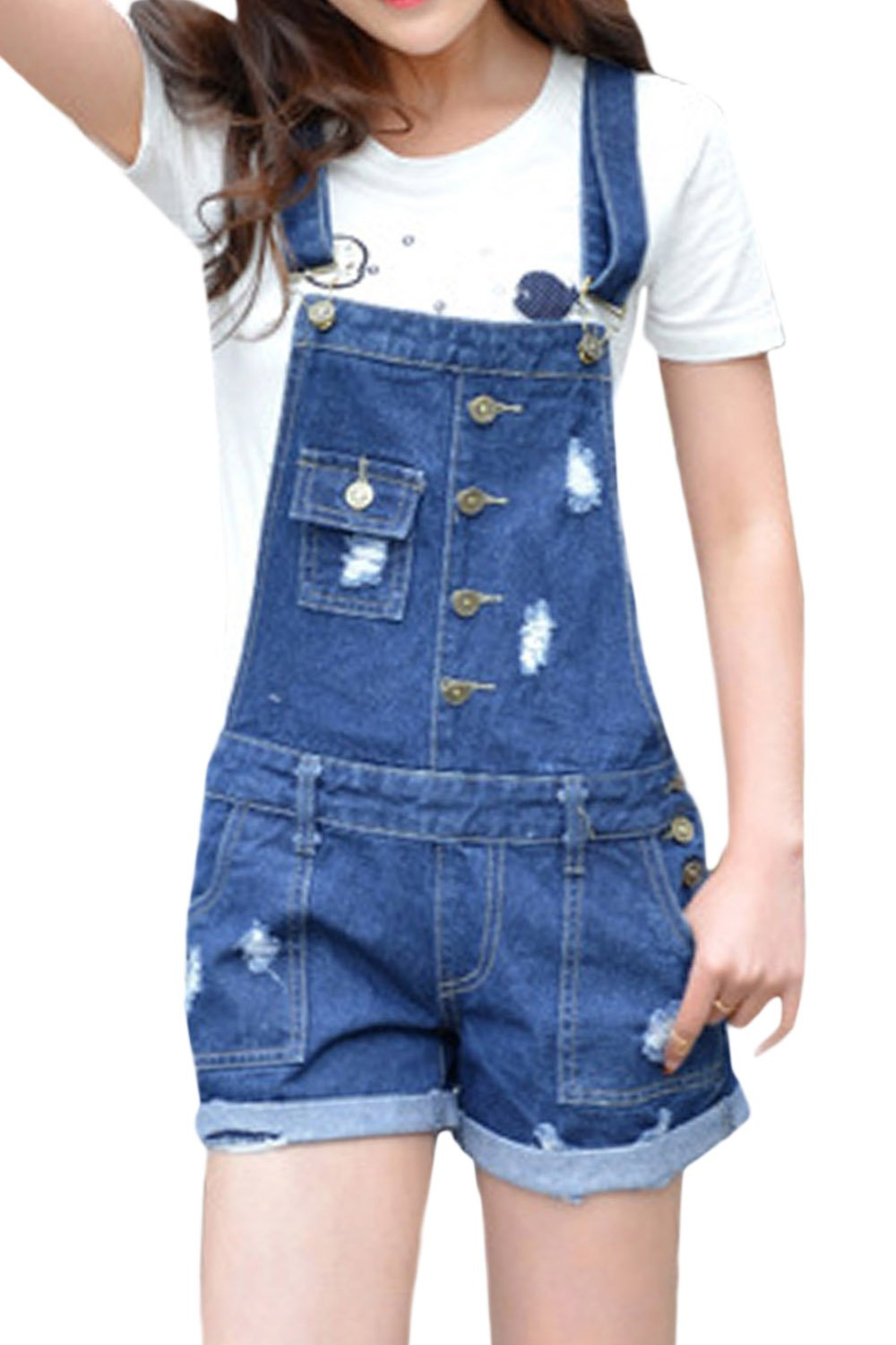 Suvotimo Women's Summer Casual Denim Overalls Ripped Shorts Plus Size CAMEG1498