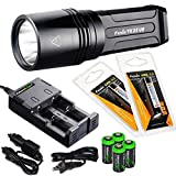 FENIX TK35 Ultimate Edition 2015 (TK35UE) 2000 Lumen LED Tactical LED Flashlight with 2 x Fenix ARB-L2 2600mAh 18650 Li-ion rechargeable batteries, 4 X EdisonBright CR123A Lithium batteries, battery charger, in-car Charger, Holster & Lanyard bundle by EdisonBright