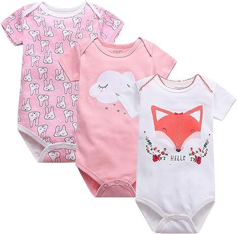 3 Pack Baby Vest Boys Bodysuit Newborn Short Sleeve Cotton Girls Romper Sleepsuit 0 3 Months