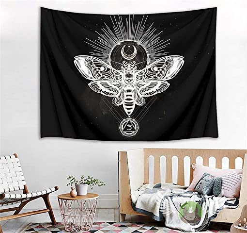 LB Dead Head Hawk Moth Fantasy Tapestry Wall Hanging Sun and Moon Magic Skull Illustration Tapestry Mysterious Wall Tapestry Art Poster Decoration for Living Room Bedroom Dorm,92 x 70.5 Inches
