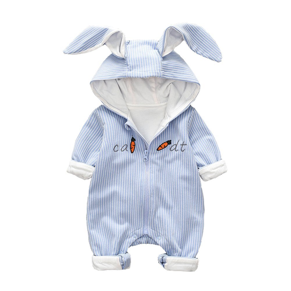 Pink ALLAIBB Newborn Baby Boy Girl Romper Hooded Outerwear 3D Rabbit Ears Stripes Size 73