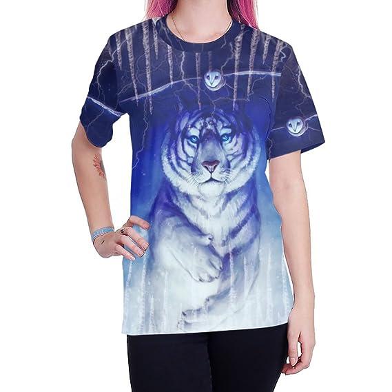 d9f961e8d SHRJJ Hommes et Femmes Amoureux Hip-Hop Lâche Grande Taille Style de La Rue  Chemisier Modèle de Tigre Blanc Glacier Manches Courtes T-Shirt