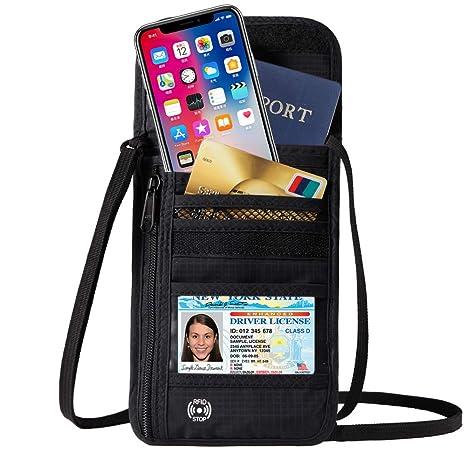 892a65e6f281 DEW Travel Passport Holder Stash Hidden Neck Pouch RFID Blocking Travel  Anti-Theft Hidden Wallet (Black)