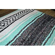 "Mexican Blanket Handwoven 72 x 48 Large MEDIUMWEIGHT Premium Mexican Falsa in ""Mint Breeze"" Bohemian Throw Blanket Southwestern Blanket Yoga Blanket Handmade Serape Tribal Rug Indian Native"