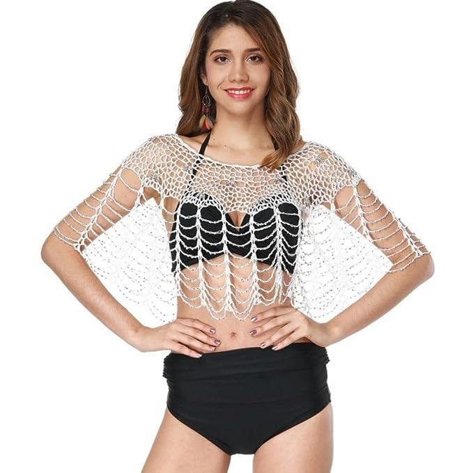7d8df2fd45a35 Hirolan Damen Spitzenjäckchen Bluse Fransen Badeanzug Strand Schal Baden  Häkeln Bikini Cover Umhang Bikini Kittel Sommerkleider