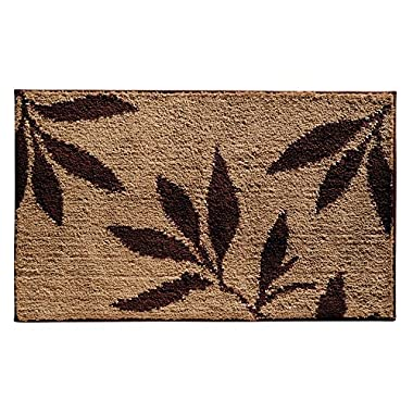 InterDesign Microfiber Leaves Bathroom Shower Accent Rug - 34  x 21 , Brown/Tan