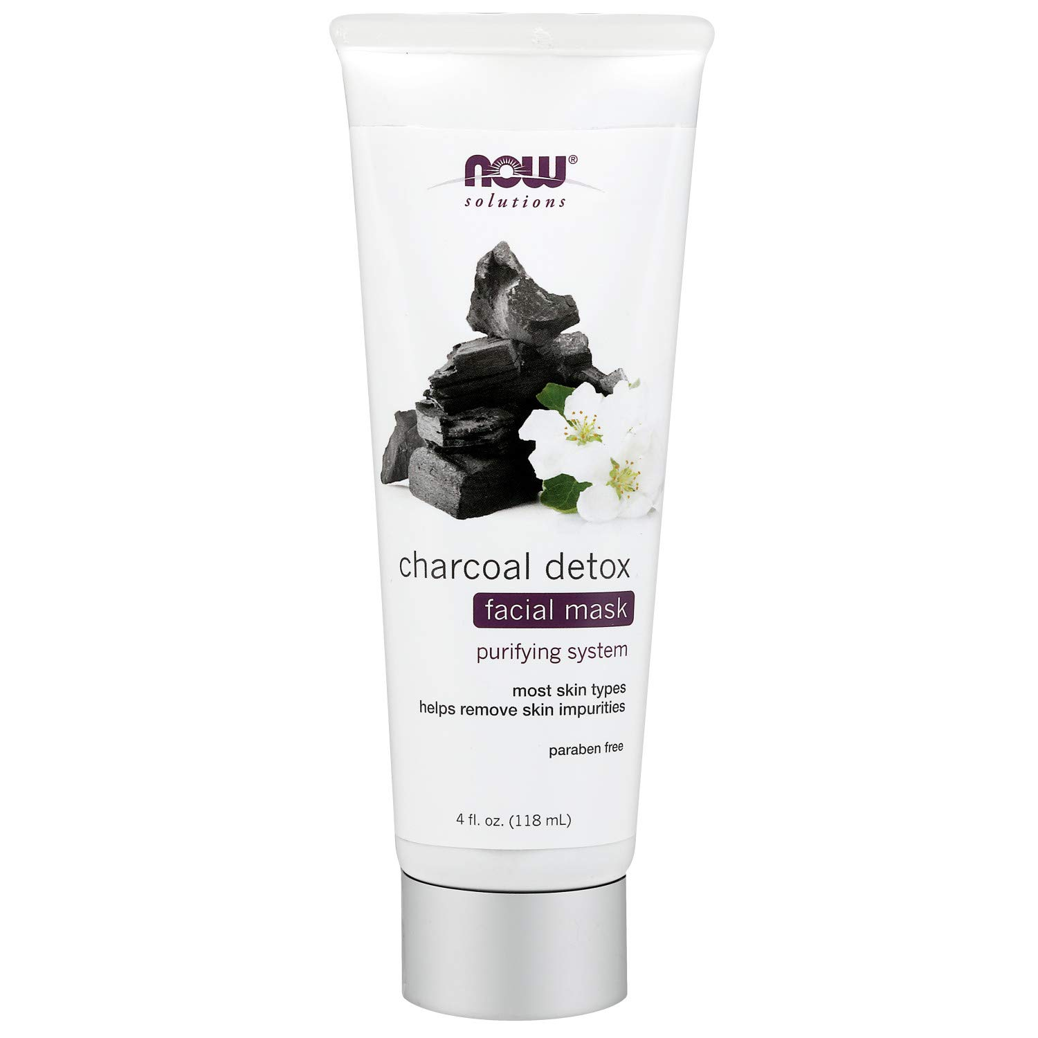 NOW Solutions, Charcoal Detox Facial Mask, Purifying System, For Most Skin Types, 4-Ounce