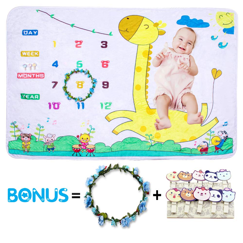 FortuneBaby Monthly Milestone Blanket Extra Large 60''x40''-Best Baby Shower Gifts for Newborn Boy and Girl-Unique Photography Props Backdrop-Wrinkle Free-Bonus Flower Wreath and Cartoon Clips