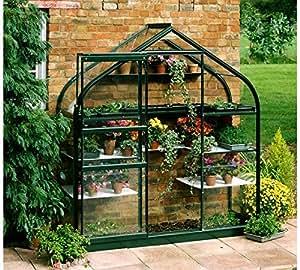 Halls Supreme pared jardín lean-to verde 6ft x 2ft marco de aluminio invernadero–Horticultural cristal