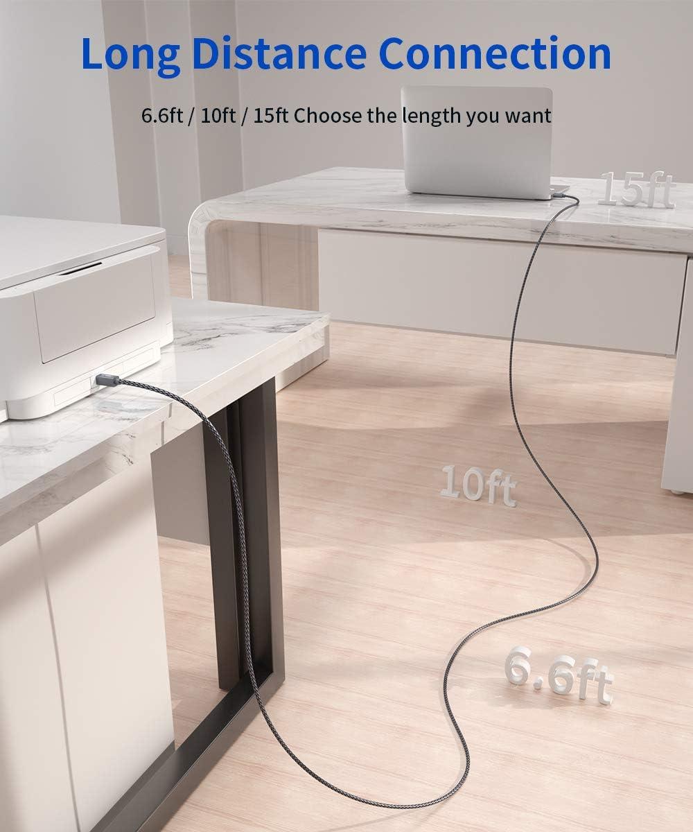 JSAUX Cable Impresora [4.5M] Cable Impresora USB Tipo B 2.0 ...