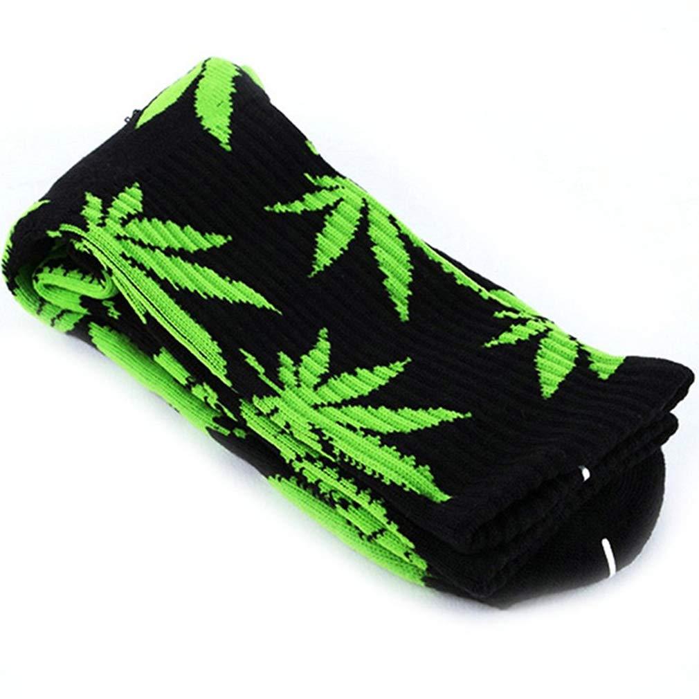 248b69274ae 1 Paire Confortable Chaussettes en Coton imprimé Feuille de Marijuana  Socquettes Casual Longues Weed Chaussettes Sport ...