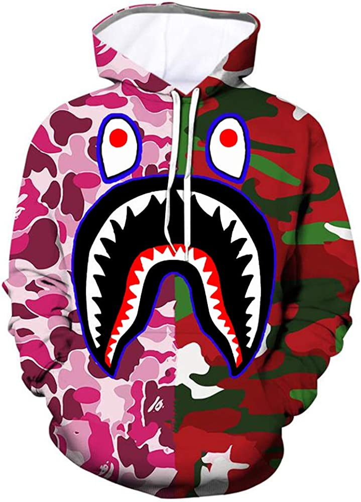 Bap-e Blood Shark 3D Graphic Printed Hoodies Unisex Pullover Sweatshirt