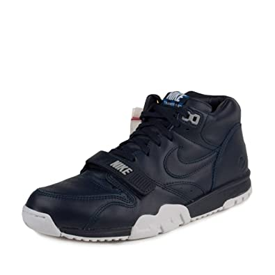 timeless design 8634a ea0bb Amazon.com   Nike Mens Air Trainer 1 Mid SP Fragment Obsidian Blue White  Leather Size 9.5   Athletic
