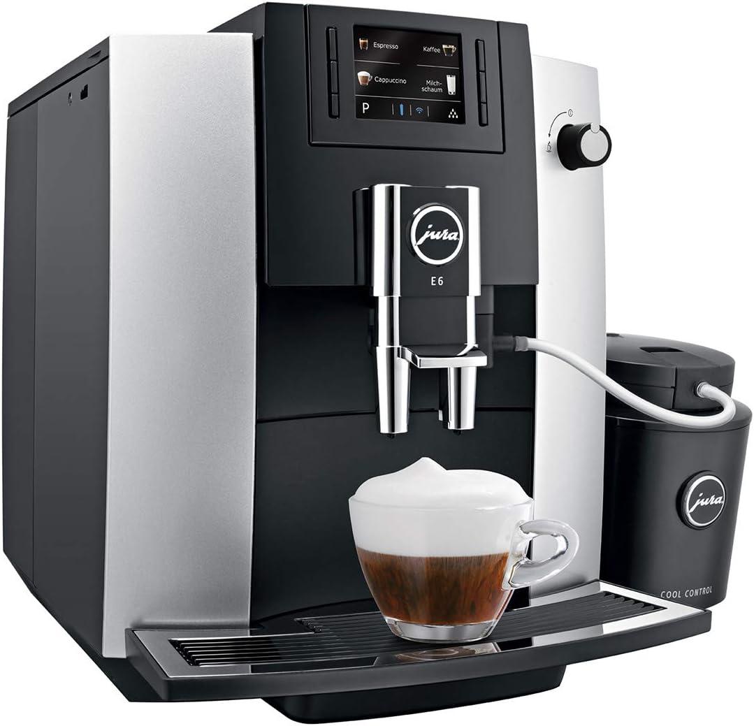 JURA E6 Platina Independiente Máquina espresso Negro, Platino 1,9 ...