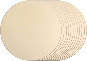 12Pcs 12 Inch Wood Circles for Crafts, Unfinished Blank Wooden Rounds Slice Wooden Cutouts for DIY Crafts, Door Hanger, Sign, Wood Buring, Painting, Christmas Décor