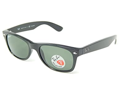 154ac49536 Image Unavailable. Image not available for. Color  Ray Ban RB2132 901 58  Wayfarer Black Crystal Green Polarized 52mm Sunglasses
