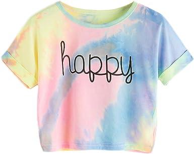 Bestag Embroidery Teen Girls Rose Crop Top Slim Tees Short Sleeve T-Shirt