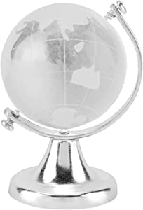 Omabeta Round Earth Globe World Map Crystal Glass Ball Sphere Magic Ball with Stand Art Decor for Home Office Decor Gift 6.5x4cm(Silver)