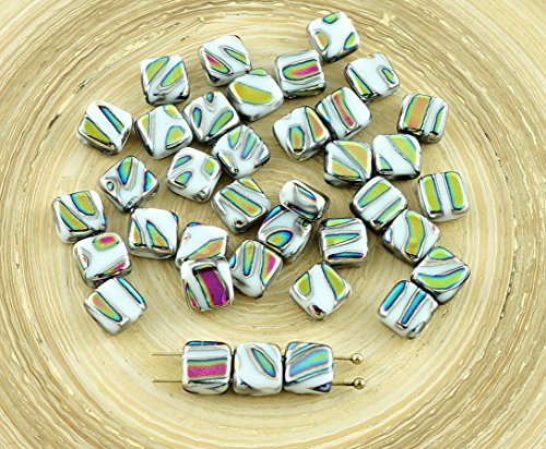 20pcs Opaque White Green Zebra Peacock Dichroic Vitrail Striped Tile Czech Glass Beads 2 Two Hole Flat Square 6mm x 6mm Striped Dichroic Glass