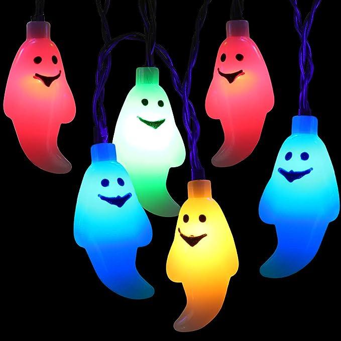 BrizLabs Stringa di Luci Halloween, 30 LED Fantasma Catena Luminosa 3m, Luci Della Stringa a Batteria Alimentate 3D Decorazione di Halloween per Natale Matrimonio Festa Giardino Cosplay, Multicolore