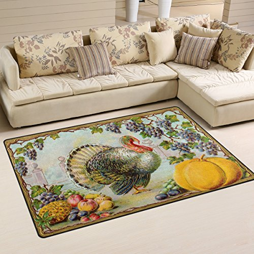 Yochoice Non-slip Area Rugs Home Decor, Vintage Thanksgiving Bountiful Harvest Floor Mat Living Room Bedroom Carpets Doormats 60 x 39 inches