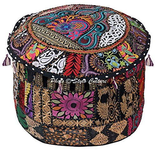 Stylo Culture Traditional Cotton Patchwork Embroidered Ottoman Stool Pouf Cover Black Floral Ottoman Seat 45 cm Seating Pouffe Case