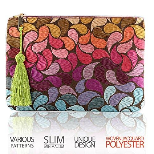 Otto Designer Women's Polyester Clutch w/ Fringe Tassel - Small Credit Card Holder and Coin Purse - Ultra-Slim, Lightweight Pocket - Zippered Closure