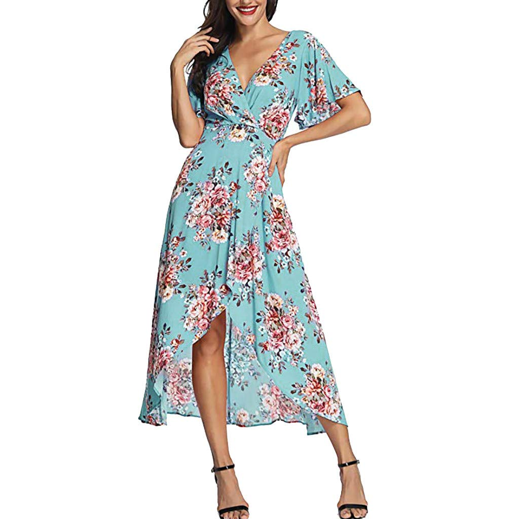 Lmx+3f Women Summer V-Neck Short Sleeve Floral Print Beach Party Wedding Long Dress Casual Solid Soft Comfy Dresses Blue
