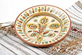 Handmade decorative wall hanging ceramic plate painted with glaze in ethnic style design ideas
