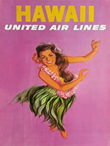 """Hawaii United Airlines Metal Sign Beach House Polynesian Decor Vintage Aluminum Metal Signs Tin Plaques Wall Poster for Garage Man Cave Beer Cafee Bar Pub Club Home Decor 8""""x12"""""""