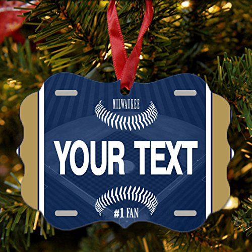 BRGiftShop Personalize Your Own Baseball Team Milwaukee Christmas Tree Ornament