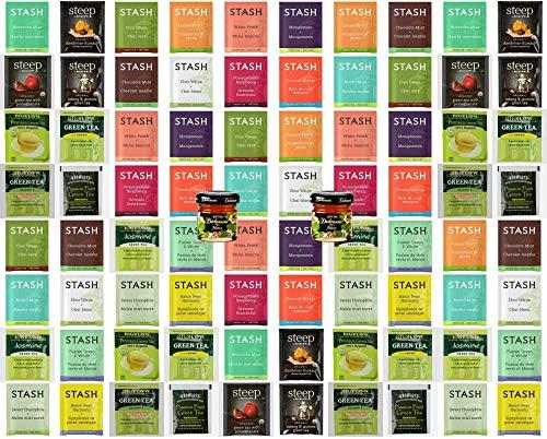 (Individual Tea Bags Green Tea Sampler|Bigelow, Bromley, Stash and Steep | Organic Green Tea, Oolong Tea, White Tea | Raspberry, Tropical, Pear, Chai, Mint, Peach, Decaffeinated and More (80 Count))
