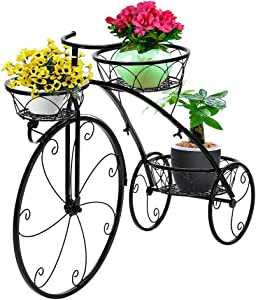 VINGLI Tricycle Plant Stand, Flower Pot Cart Holder Patio Stand Holder Outdoor Displaying Plants Flowers (Black)