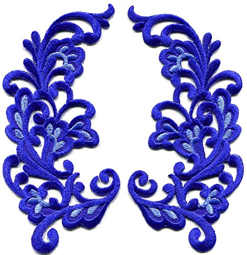 2.5 inches x 4.75 inches Royal blue trim fringe retro boho granny chic sew sewing embellishment embroidered appliques iron-on patches