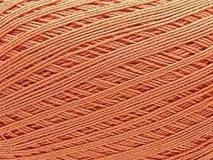 Ovillo grande de hilo de algodon color terra cota suave. Para ganchillo crochet y tejer (150g 1.000m)