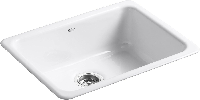 KOHLER K-6585-0 Iron Tones Self-Rimming Undercounter Kitchen Sink, White