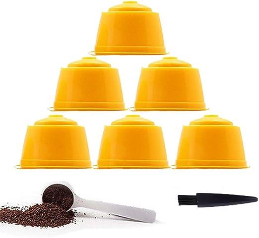 YISER 6 Pack Cápsulas Filtros de Café Recargable Amarillo Reutilizable para Cafetera Dolce Gusto 6 Pack: Amazon.es: Hogar