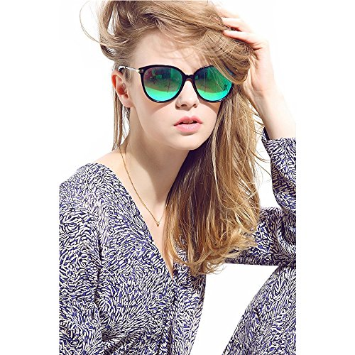 Classic Polarized Round Sunglasses for Women Mirrored UV400 Retro Style Green Diamond Eyewear Sunglasses